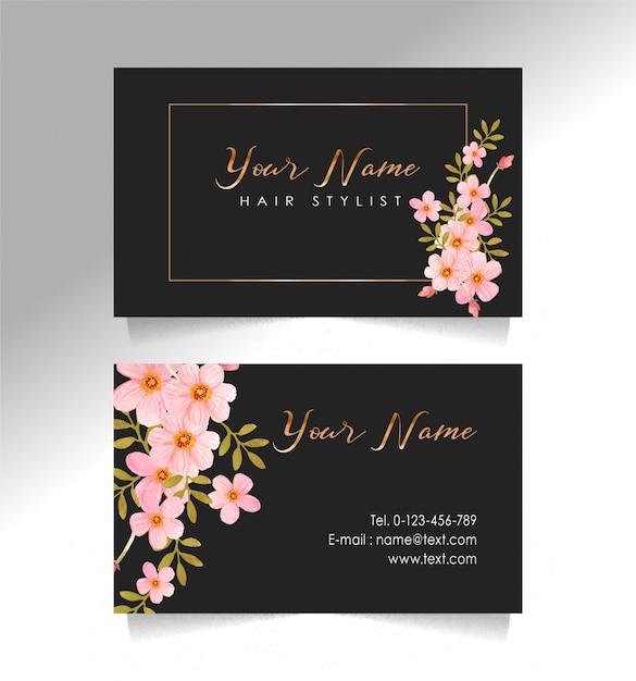 Biglietto da visita nero e modello di fiore Vettore Premium