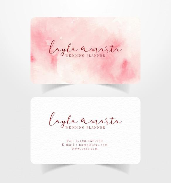 Biglietto da visita rosa splash sfondo ad acquerello Vettore Premium