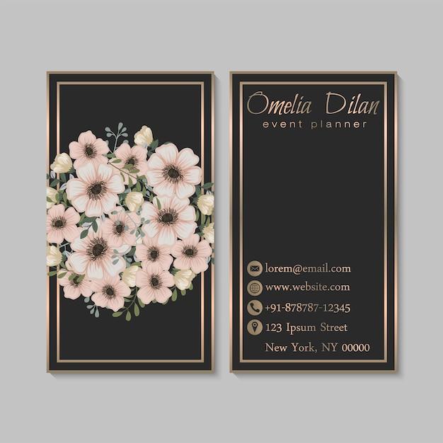 Biglietto da visita scuro di lusso con fiori Vettore Premium