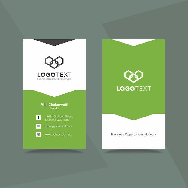 Biglietto da visita verde professionale e design con carta intestata Vettore Premium