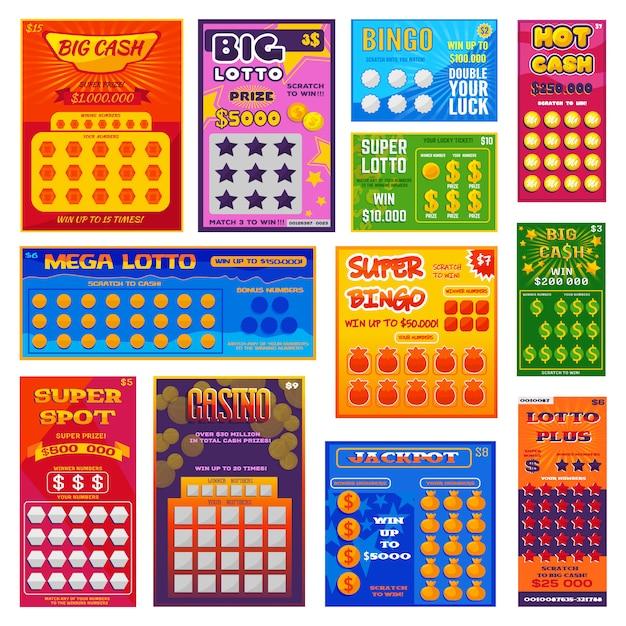 Biglietto della lotteria vettore fortunato carta di bingo vincere possibilità lotto gioco jackpot ticketing Vettore Premium