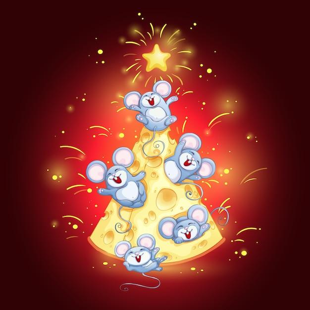 Biglietto di auguri con albero di formaggio e topi divertenti per il capodanno cinese. Vettore Premium