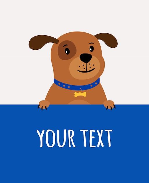 Biglietto di auguri con cane carino felice e posto per il testo sul blu Vettore Premium