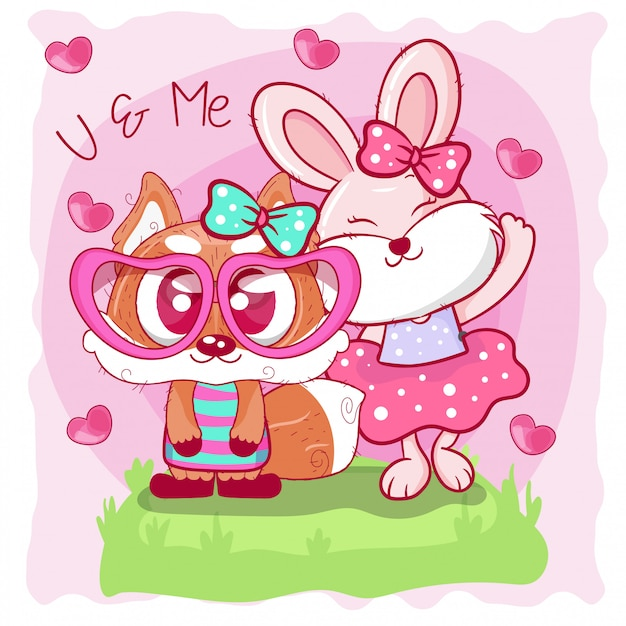 Biglietto di auguri con cute volpe e coniglietto cartoon Vettore Premium