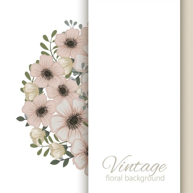 Biglietto di auguri con fiori, acquerello Vettore gratuito
