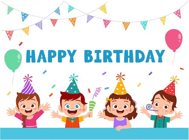 Biglietto di auguri con simpatici bambini felici festeggia il compleanno Vettore Premium