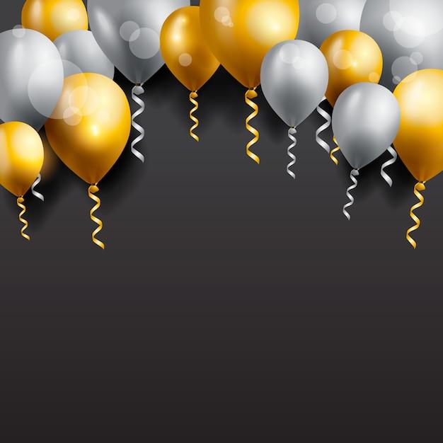 Biglietto di auguri di compleanno con palloncini Vettore Premium
