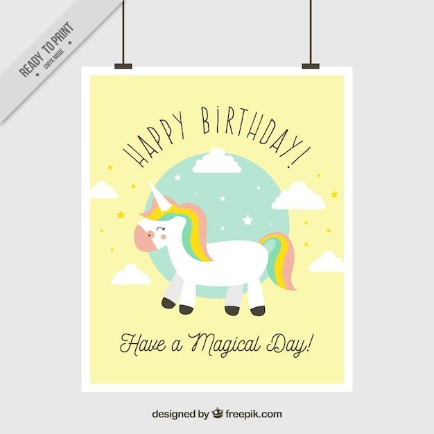 Biglietto Di Auguri Di Compleanno Con Unicorno Scaricare Vettori