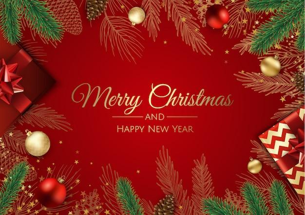Alberi Di Natale Per Auguri.Biglietto Di Auguri Di Natale Con Decorazioni Per Alberi Di Natale Vettore Premium