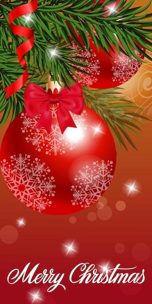 Immagini Auguri Di Natale Gratis.Biglietto Di Auguri Di Natale Con Palline Scaricare Vettori Gratis