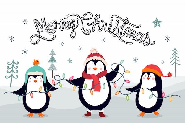 Biglietto di auguri di natale con pinguini Vettore Premium