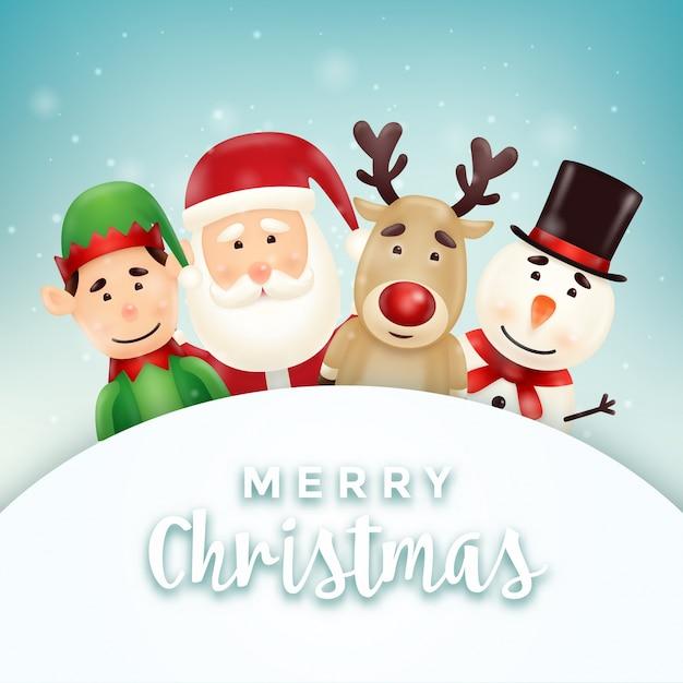 Auguri Spiritosi Di Natale 4.Biglietto Di Auguri Di Natale Con Simpatici Personaggi Di