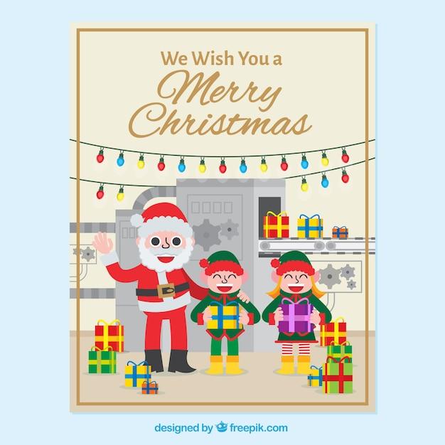 Biglietti Di Auguri Di Natale Per Bambini.Biglietto Di Auguri Di Natale Di Babbo Natale E Felici I