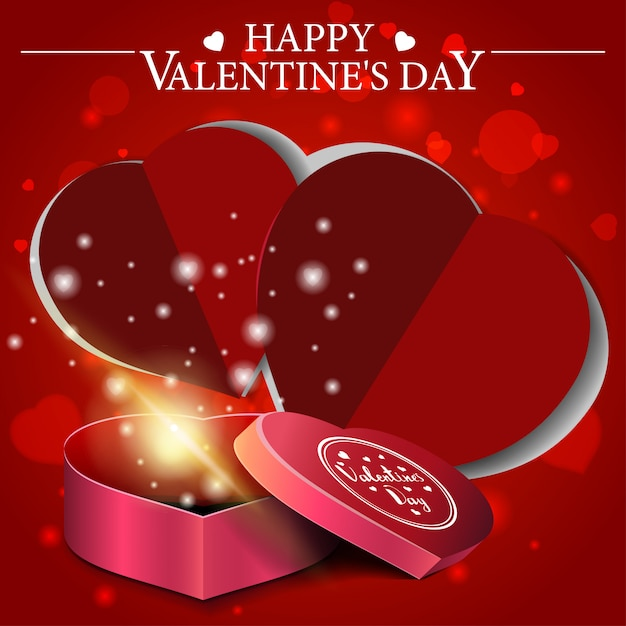 Biglietto di auguri di san valentino rosso con regalo a forma di cuore Vettore Premium