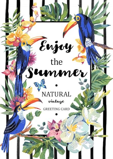 Biglietto di auguri estivo con coppia di tucano e fiori esotici Vettore Premium