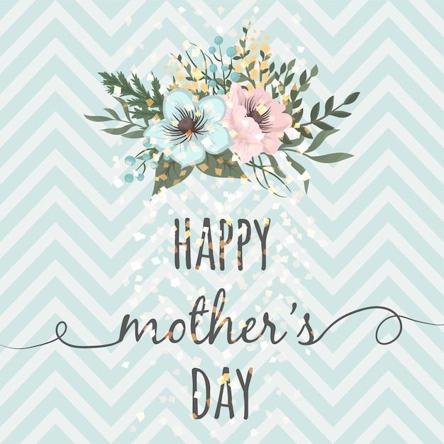 Biglietto di auguri festa della mamma con fiori in fiore Vettore gratuito