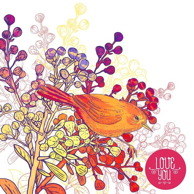 Biglietto di auguri floreale con uccelli e rami Vettore Premium