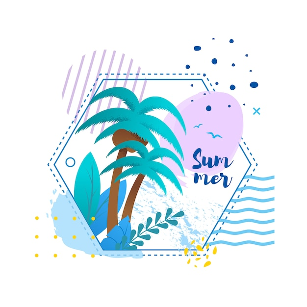 Biglietto di auguri in cornice tropicale Vettore Premium