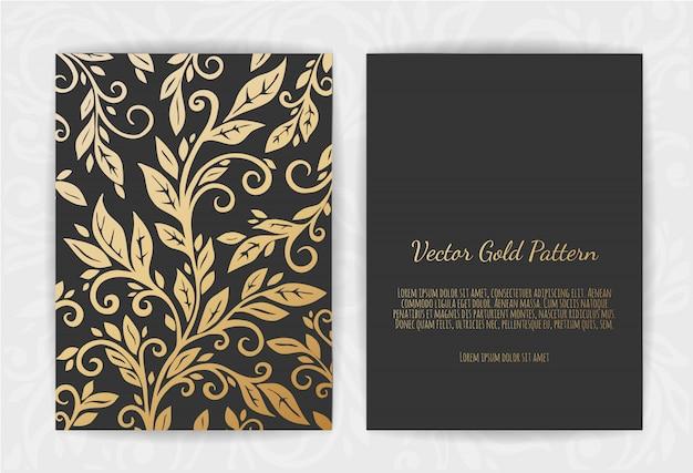 Biglietto di auguri in oro su fondo nero Vettore Premium