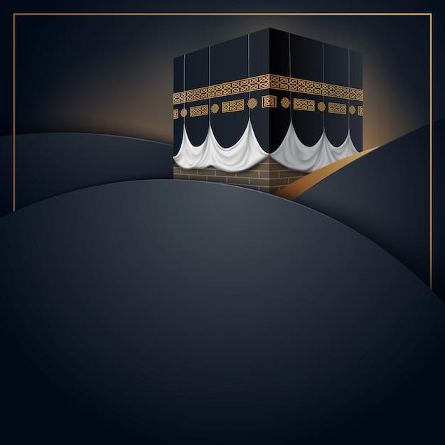 Biglietto di auguri islamico hajj Vettore Premium