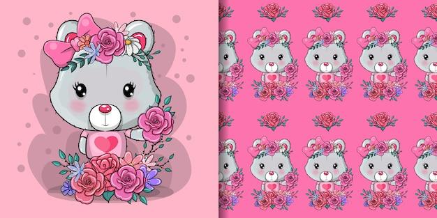 Biglietto di auguri orso con fiori e cuori Vettore Premium