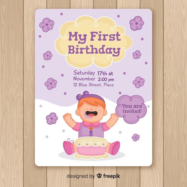 Biglietto di auguri per il primo compleanno della neonata disegnata a mano Vettore gratuito