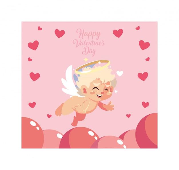 Biglietto di auguri per san valentino, dolce cupido angelo Vettore Premium