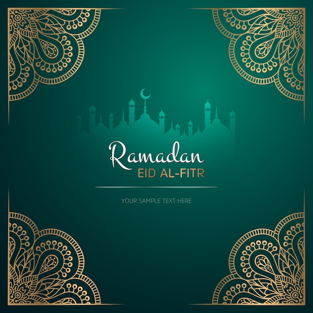 Biglietto di auguri ramadan kareem design con mandala Vettore gratuito