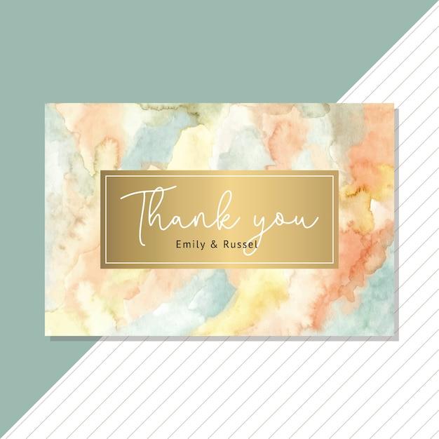 Biglietto di ringraziamento con acquerello astratto e sfondo dorato Vettore Premium