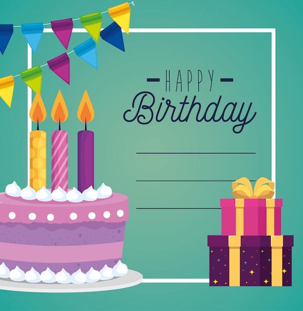 Biglietto e torta con candela e regali decorati con gif Vettore gratuito