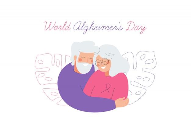 Biglietto per la giornata mondiale dell'alzheimer con una coppia di anziani che si prende cura l'uno dell'altro. Vettore Premium