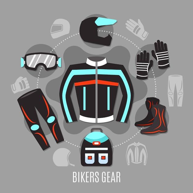 Biker gear concept Vettore gratuito