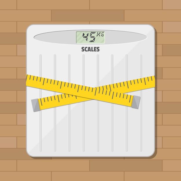 Bilancia pesapersone per bagno e nastro di misurazione Vettore Premium