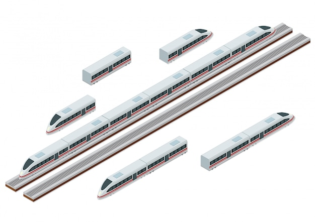 Binari del treno isometrico e moderno treno ad alta velocità Vettore Premium