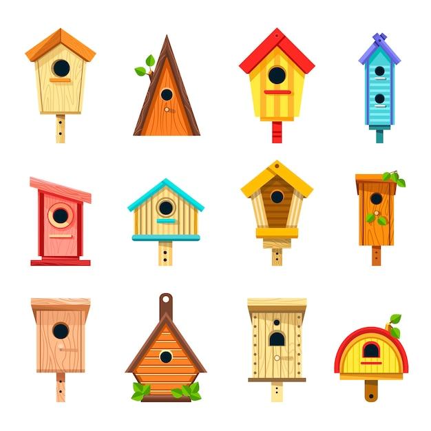 Birdhouses di legno di design creativo da appendere al set di alberi Vettore Premium