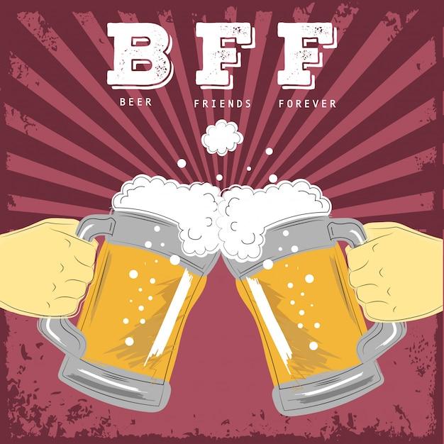 Birra amici per sempre illustrazione Vettore Premium