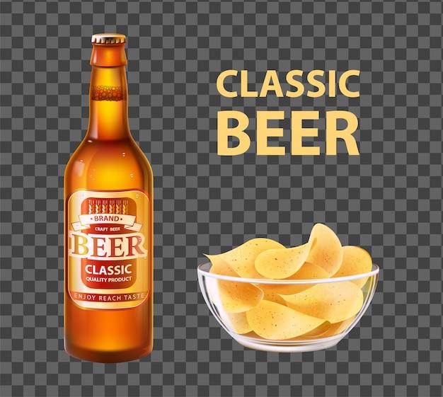 Birra artigianale in bottiglia e patatine fritte in ciotola isolata Vettore Premium