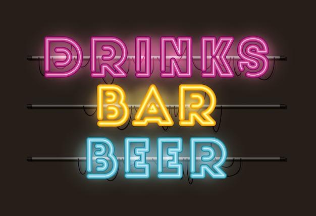 Birra bevande bar font luci al neon Vettore Premium