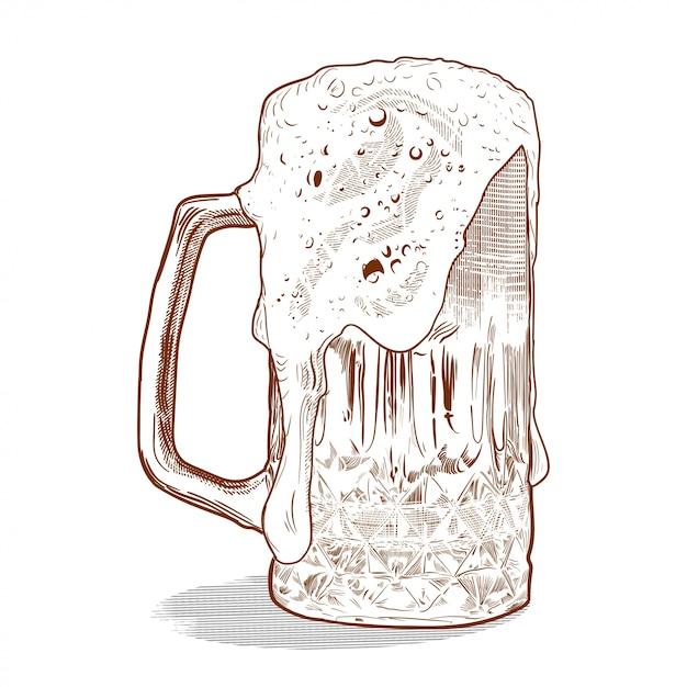 Birra in stile incisione vintage Vettore Premium