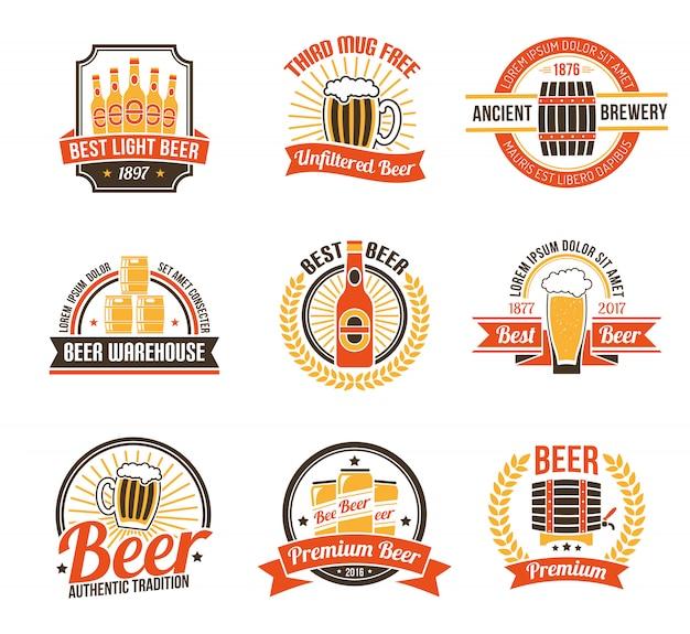 Birra logo set Vettore gratuito