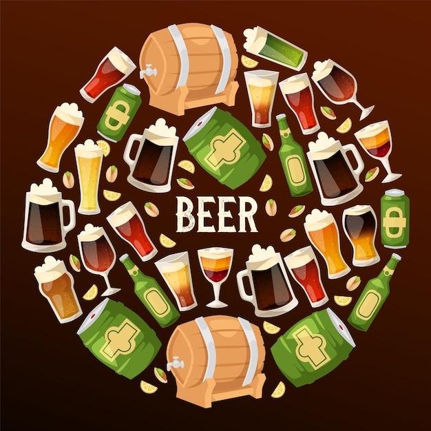 Birra nel birrificio birreria vettore beerbarrel beermug dark ale illustrazione di beerbottle nel bar sulla parte dell'alcool di birra Vettore Premium