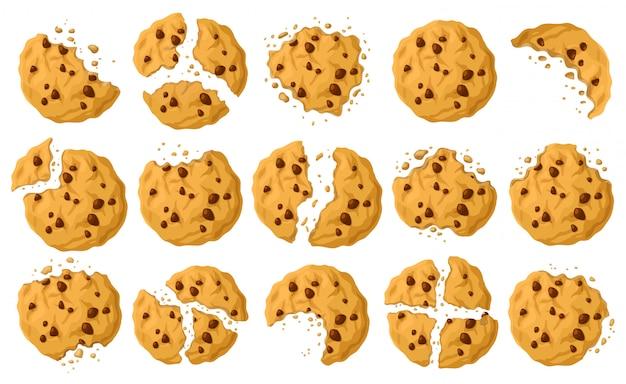 Biscotti con icona stabilita del fumetto delle briciole. Vettore Premium