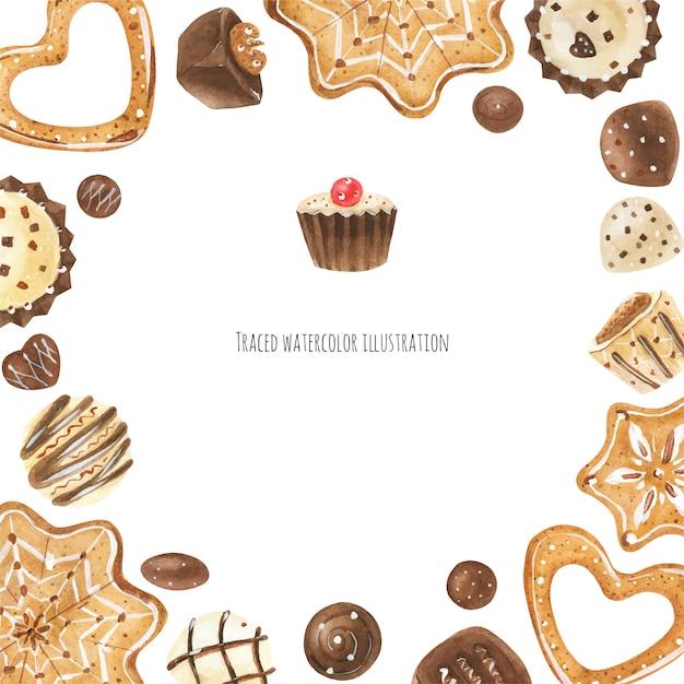 Biscotti e cornice di cioccolato Vettore Premium