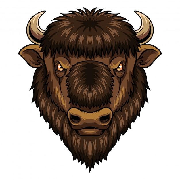 Bison head mascot Vettore Premium
