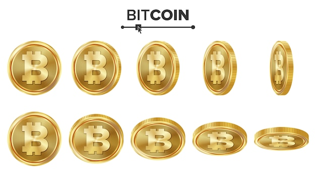 Bitcoin 3d monete d'oro Vettore Premium