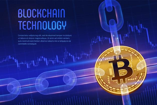 Bitcoin. bitcoin dorato 3d con la catena del wireframe su fondo finanziario blu Vettore Premium