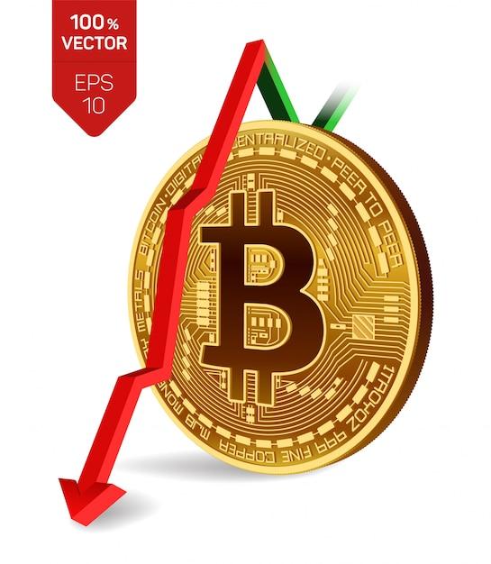 Bitcoin con freccia rossa verso il basso. il rating dell'indice bitcoin scende sul mercato dei cambi. Vettore Premium