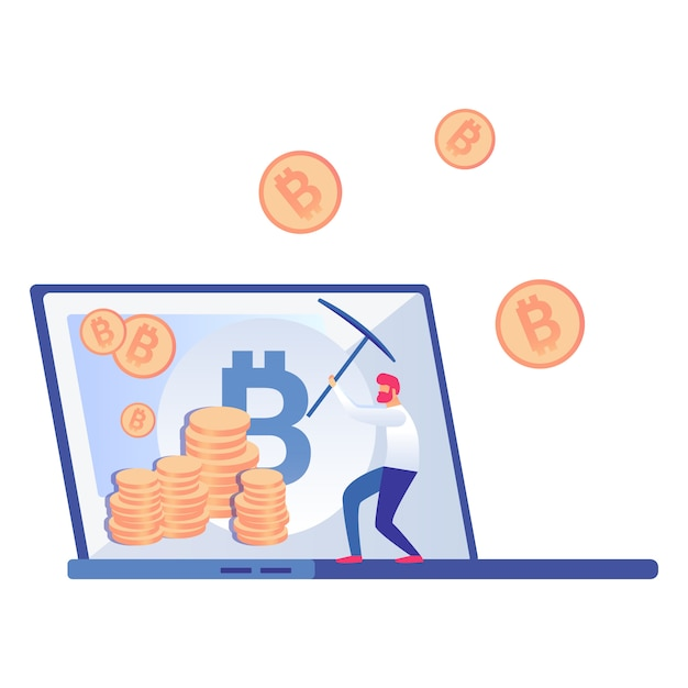 Bitcoin, cryptocurrency miner vector illustration Vettore Premium