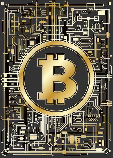 Bitcoin dorato sfondo valuta digitale Vettore Premium