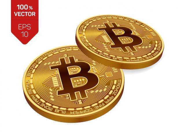 Bitcoin. due monete d'oro con bitcoin isolato. criptovaluta. Vettore Premium